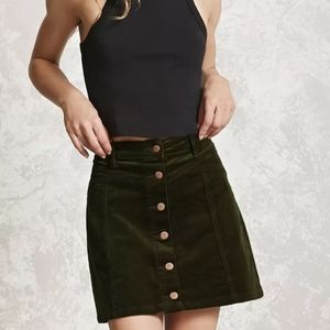 Forever 21 Olive Green Corduroy Button Front Skirt